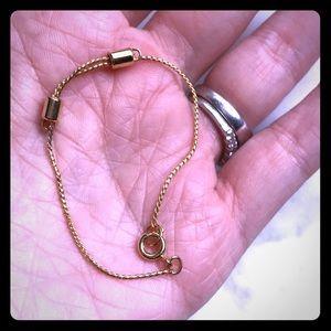 Child or baby adjustable rope bracelet -gold